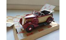 ГАЗ-М1 фаэтон открытый (бежевый/красный) Н157, масштабная модель, scale43, Наш Автопром