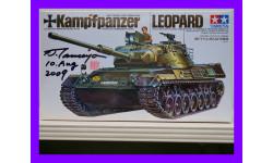 1/35 продажа сборной модели танка Леопард Тамия 35064 с автографом и печатью Тамия