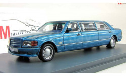Mercedes-Benz W126 Stretch Limousine blue metallic, масштабная модель, Neo Scale Models, 1:43, 1/43