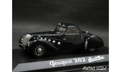 Peugeot 302 Darl'Mat coupe black 1-43 Norev 473203, масштабная модель, 1:43, 1/43