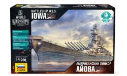 9201 Американский линкор Айова масштаб 1:1200, сборные модели кораблей, флота, Звезда