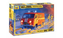 43001 УАЗ «3909» Пожарная служба масштаб 1:43, сборная модель автомобиля, 1/43, Звезда