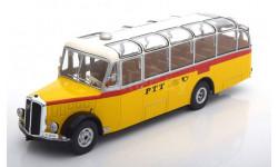 автобус SAURER L4C 'PTT' (Почта Швейцарии) 1959 Yellow/White, масштабная модель, IXO, 1:43, 1/43