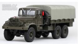 КрАЗ 214Б бортовой с тентом (темно-зеленый / серый тент), масштабная модель, Наш Автопром, scale43