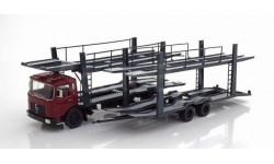 MAN F7 с прицепом-автовозом 1970 Dark Red, масштабная модель, IXO, 1:43, 1/43