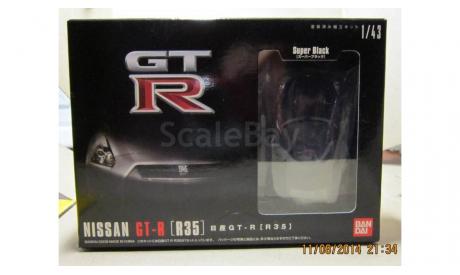 Nissan GT-R R35 SUPER BLACK 1/43 пластиковый кит Bandai, сборная модель автомобиля, scale43