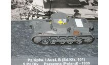 1/72 Pz.Kpfw.I Ausf.B Sd. Kfz.101 diecast модель танк Германия, масштабные модели бронетехники, scale72, DeAgostini (военная серия), Krupp