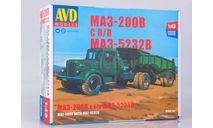 Сборная модель МАЗ-200В с полуприцепом МАЗ-5232В, сборная модель автомобиля, AVD Models, 1:43, 1/43