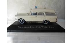 Мерседес Бенц Mercedes Benz 230 W110 Binz Ambulance Скорая медицинская помощь 1967 IXO Atlas 1:43