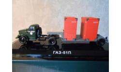 ГАЗ-51П и п/п Т-213 контейнеровоз (т.зелёный/серый) DIP Models  905103