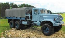 КрАЗ 255 Б1 бортовой с тентом, голубой/серый 1967 СССР НАП Наш Автопром 1:43