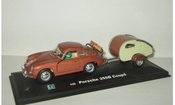 Порше Porsche 356 + прицеп кемпер 1963 Hongwell Cararama 1:43 Открываются двери БЕСПЛАТНАЯ доставка, масштабная модель, 1/43, Bauer/Cararama/Hongwell