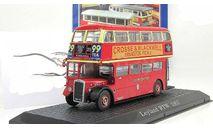 автобус двухэтажный Лондон London Leyland RTV75 1957 Atlas IXO IST Deagostini 1:72, масштабная модель, 1/72