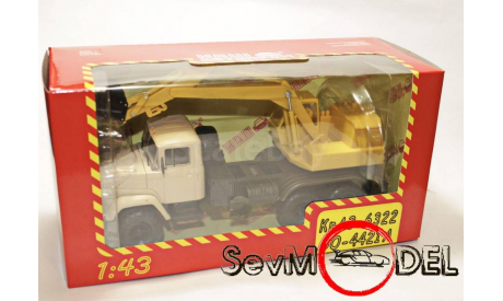 Наш автопром 1/43 КрАЗ-6322 ЭО Экскаватор бежево-жёлтый, масштабная модель, scale43
