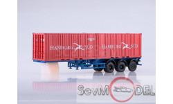Полуприцеп-контейнеровоз МАЗ-938920 с контейнерами Hamburg Sud, масштабная модель, 1:43, 1/43, Автоистория (АИСТ)