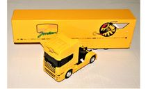 Scania 144L 530 (4x2) 'Скамейка' JORDAN F1 Car Transporter 1998 yellow, масштабная модель, Eligor, scale43