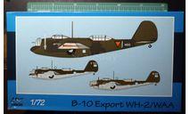 Бомбардировщик Martin B-10B WH-2/WAA   1:72 Azur-FRROM, сборные модели авиации, scale72