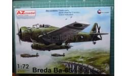 бомбардировщик  Breda Ba 65A-80  Nibbio (война в Испании) 1:72 AZ model, сборные модели авиации, Hawker, 1/72