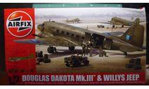 транспортный самолет Douglas Dakota MkIII (C-47) + джип  1:72 Airfix (NEW), сборные модели авиации, scale72