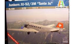 пассажирский самолет Юнкерс Ju 52/3M 1:72 Italeri, сборные модели авиации, Junkers, 1/72