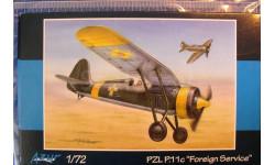 истребитель PZL P-11c (за рубежом) 1:72 Azur, сборные модели авиации, Mastercraft, scale72