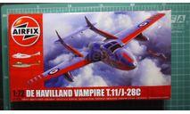 учебный самолет DH Vampire T11 / J-29C  1:72 Airfix NEW !!!, сборные модели авиации, De Havilland, scale72