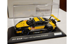 PORSCHE 911 (991) RSR #56 WEC SuperSeason 2018/2019 Project 1, yellow / black SPARK WAP0209210K 1/43, масштабная модель, scale43