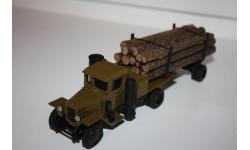 Масштабная модель Ломо АВМ Урал ЗИС 352Л лесовоз газогенератор с роспуском и лесом 1/43, масштабная модель, scale43, ЛОМО-АВМ