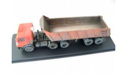 КаМАЗ-54112 с п/п самосвалом МАЗ-9506-20 красный/оранжевый со следами эксплуатации