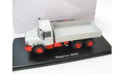 Magirus 290 D, grey/red flatbed platform trailer, бортовой