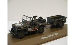 Jeep Willys MB с прицепом, хаки, масштабная модель, 1:43, 1/43, Atlas