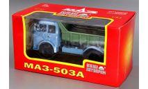 МАЗ-503А (1970 г.в.) самосвал_ голубая кабина, зелёный кузов _ НАП, масштабная модель, scale43, Наш Автопром