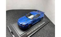 Nissan Skyline GT-R  V-Spec II  blue, редкая масштабная модель, Ebbro, scale43
